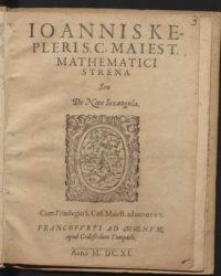 "Portada da obra ""Strena seu de nive sexángula"" de Johannes Kepler publicada en Frankfurt en 1611. Fonte: Biblioteka Jagielloń ska."