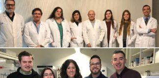 Equipo de endocrinoloxía e cardioloxía do CHUS (arriba) e grupo de Proteómica do CiMUS (abaixo). Imaxes de arquivo. Fonte: CiMUS.