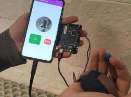 """Co prototipo xa rematado, ata agora o equipo desenvolveu a funcionalidade principal """"que é ter o sensor e a comunicación coa aplicación funcionando, cunha comunicación simple de """"si"""" e """"non"""". Imaxe: Duvi."""