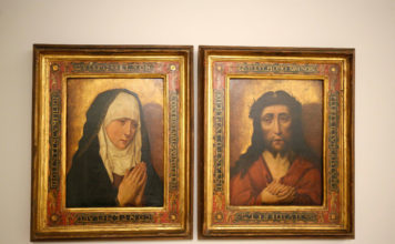 Os cadros da 'dolorosa' e o 'cristo' quedarán expostos na Sala 1 do Edificio Castelao. Foto: Deputación de Pontevedra.