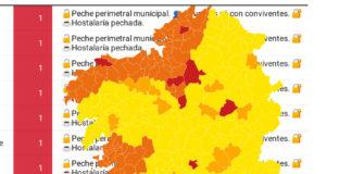 O novo mapa deixa no nivel máis baixo de restricións 197 concellos, entre os que están as cidades de Lugo, Santiago, Vigo e Ourense.