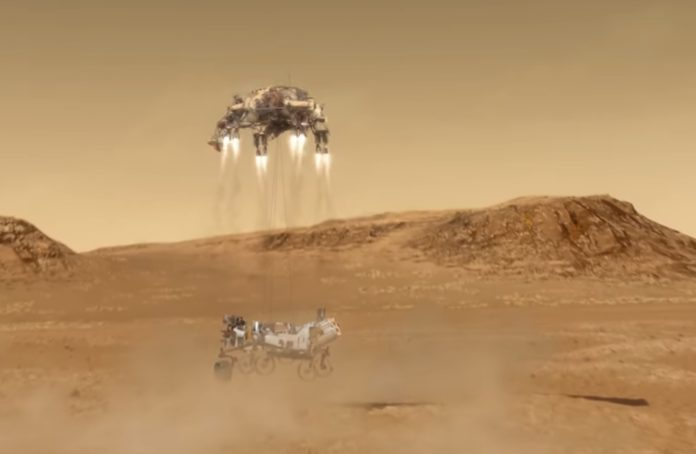 Animación da chegada de Perseverance á superficie de Marte. Fonte: NASA.