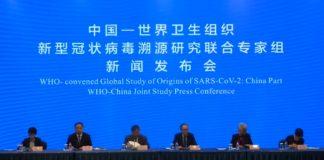 Comparecencia da misión da OMS e membros do goberno chinés que tivo lugar este martes 9 de febreiro en Wuhan. Foto: OMS.