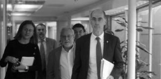 Comparecencia de prensa de Jesús Vázquez, Xurxo Hervada e María José Pereira, na que se anunciou o primeiro caso de coronavirus en Galicia. Foto: Xunta de Galicia.