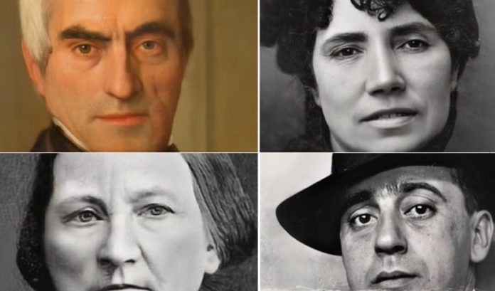 Imaxes de Domingo Fontán, Rosalía de Castro, Concepción Arenal e Ramón Cabanillas procesadas na aplicación
