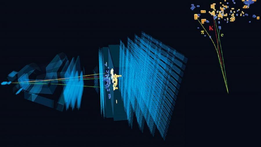 Desintegración moi rara dun mesón b (beauty) que involucra un electrón e un positrón observada no experimento LHCb. Fonte: CERN.