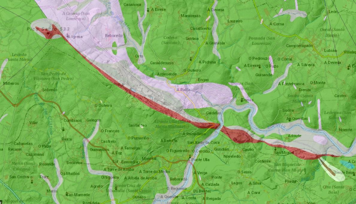 Filón de cuarzo que vai desde o Sacro ata a mina de Castillo, pasando por Serrabal e o paso de San Xoán da Cova. Fonte: Xunta de Galicia.