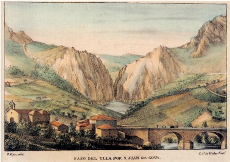"""Litografía """"Paso do Ulla por San Xoán da Cova"""", de Ramón GIl Rey (1838)."""