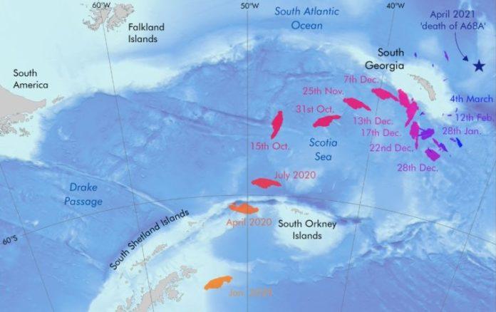 Traxectoria do iceberg A68 nos últimos meses, nos que se achegou de forma perigosa ata Georgia do Sur. Fonte: British Antarctic Survey.