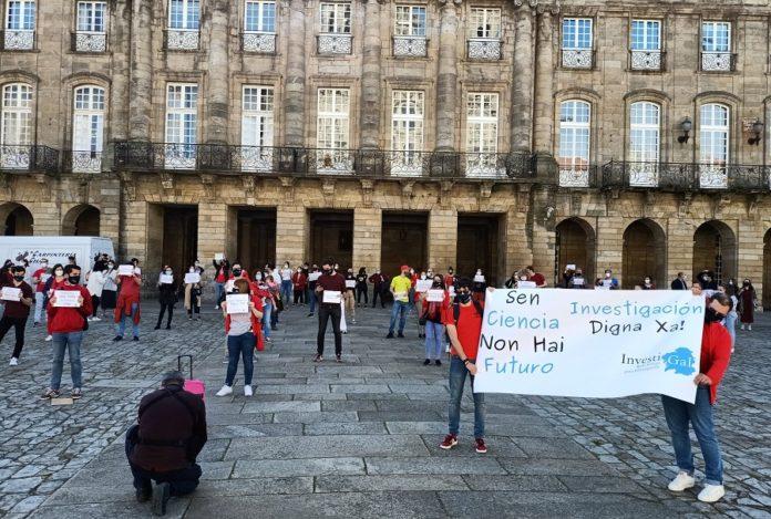 Manifestación deste xoves 15 de abril na Praza do Obradoiro de Santiago de Compostela. Foto: Investigal.