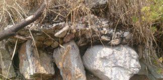 Detalle do morteiro de revestimento dos píos da fábrica romana nas Ons. Fonte: Duvi.