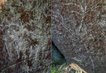 Pintadas no dolmen de Pedra Cuberta. Fonte: Concello de Vimianzo.