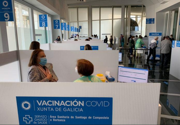 Postos de vacinación instalados na Cidade da Cultura de Santiago de Compostela. Foto: Gabinete de Comunicación da Ärea Sanitaria de Santiago-Barbanza.