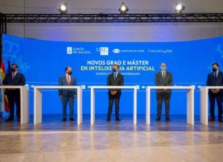 Os reitores das tres universidades, o presidente da Xunta e o conselleiro de Educación, na sinatura do acordo. Foto: UDC.