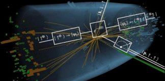Ilustración dunha colisión de dous fotóns no experimento CMS do CERN durante a procura do bosón de Higgs en 2011 e 2012. Foto: CERN