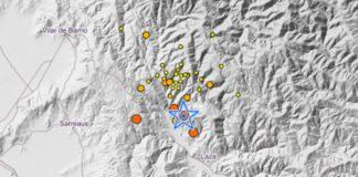 O terremoto de magnitude 3,9 na madrugada do venres 21 de maio tivo lugar en Laza, no marco do enxame sísmico da zona. Fonte: IGN.