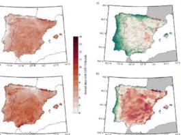 Mapas de evolución do índice EHF máximo proxectado para 2021-2050 respecto do período anterior