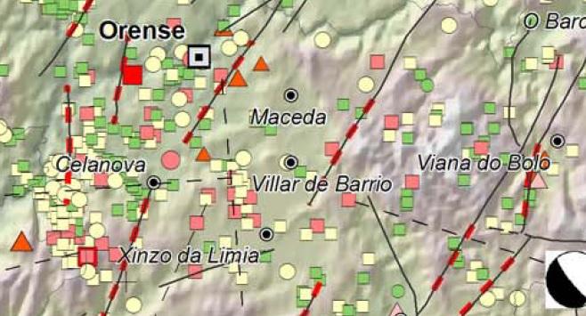 Falla activa (liña vermella discontinua) na zona onde se producen os sismos nos últimos días. Fonte: Juan Ramón Vidal Romaní.