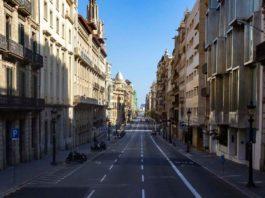 Via Laietana de Barcelona, baleira durante o confinamento da primavera de 2020. Foto: Marc Lozano / Ajuntament de Barcelona.