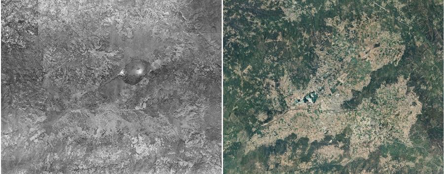 Vista da lagoa de Antela no voo americano de 1956-1957 e na imaxe do PNOA de 2020.