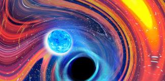 Imaxe artística inspirada nun evento de fusión dun buraco negro e unha estrela de neutróns. Créditos: Carl Knox, OzGrav, Universidade de Swinburne.