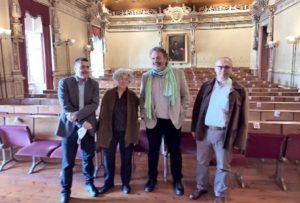 Emilio Abad (esquerda), xunto aos seus directores de teses, Josefa Rei e Manel Cotos (dereita). Foto: USC.