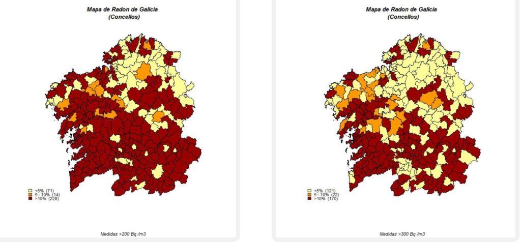 Mapa de concentración do radon nos concellos de Galicia, amosando as porcentaxes de medicións superiores a 200 bq/m3 (esquerda) e 300 bq/m3 (dereita). Fonte: radon.gal.