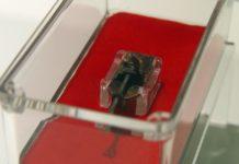 Detalle do microscopio orixinal de Van Leeuwenhoek que se converterá en BIC, durante a súa exposición no Museo de Historia Natural de Santiago, da USC. Foto: USC.
