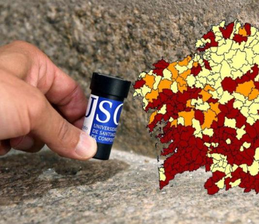 As concentracións de radon, e o risco asociado de cancro de pulmón, son meirandes en zonas con substratos graníticos, como Galicia. Imaxes: USC.