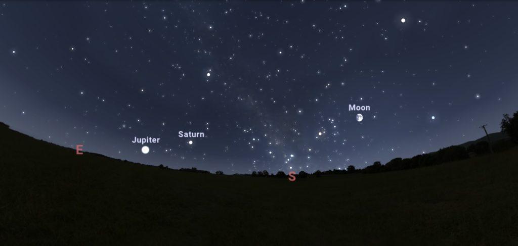 Vista de Stellarium, un dos programas máis usados para a observación do ceo nocturno.