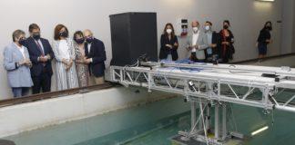 Visita institucional ás instalacións do Centro de Investigacións Tecnolóxicas (CIT) de Ferrol, no que se expuxo o módulo no que se basean os arrecifes artificiais. Foto: Xunta de Galicia.