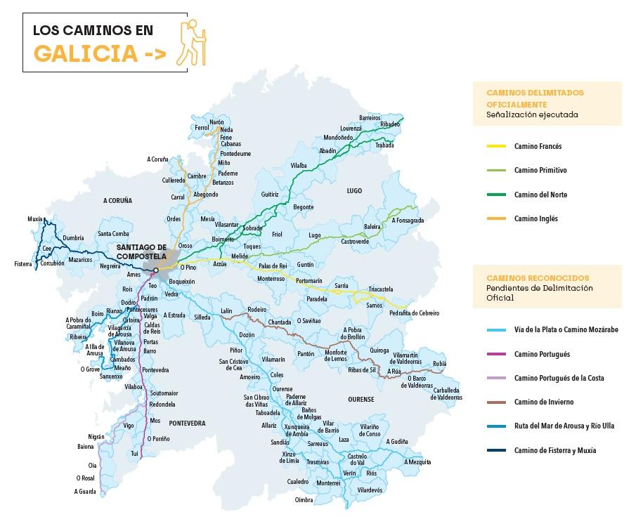 Rutas xacobeas en Galicia. Imaxe: caminodesantiago.gal.