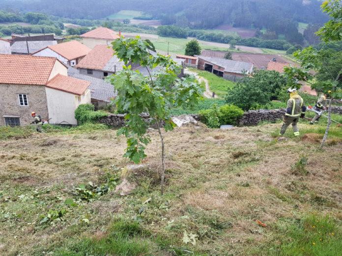 Labores de prevención contra incendios na contorna dunha aldea.
