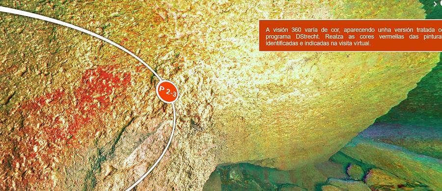 Visita virtual no interior das pinturas no castelo de Lobarzán. Imaxe: Premedia/UVigo.