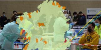 A elevada transmisión nos grupos de idade con escasa cobertura vacinal podería agravar a carga hospitalaria nas vindeiras semanas. Imaxe: UVigo/elaboración propia.