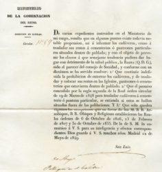 Orde que insta a afastar os soterramentos das áreas poboadas. Fonte: Arquivo da Deputación de Pontevedra.