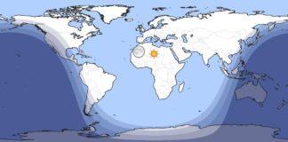 Luz solar ás 11.15 UTC deste 8 de xullo. Fonte: timeanddate.com