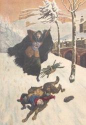 """Recreación do ataque dun lobo a un neno no norte de España, nunha ilustración dun artigo publicado en 1914 en """"Le Petit Journal"""". Fonte: Biblioteca Nacional de Francia."""