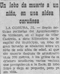 "Nota sobre a morte do neno atacado polo lobo en Castrelo (Vimianzo) en 1957. Fonte: ""El Pueblo Gallego""."