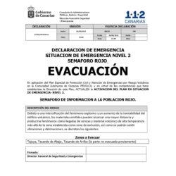 Orde de evacuación.