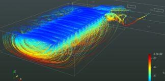 Simulación da propagación por aerosois na aula recollida no estudo. Foto: Duvi.