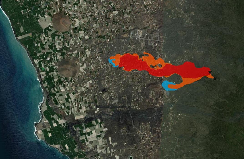 Fontes de emisión (estrelas negras) e avance diario da lava, que amosa os días 20 (vermello), 21 (laranxa) e 22 (azul). Fonte: IGME.