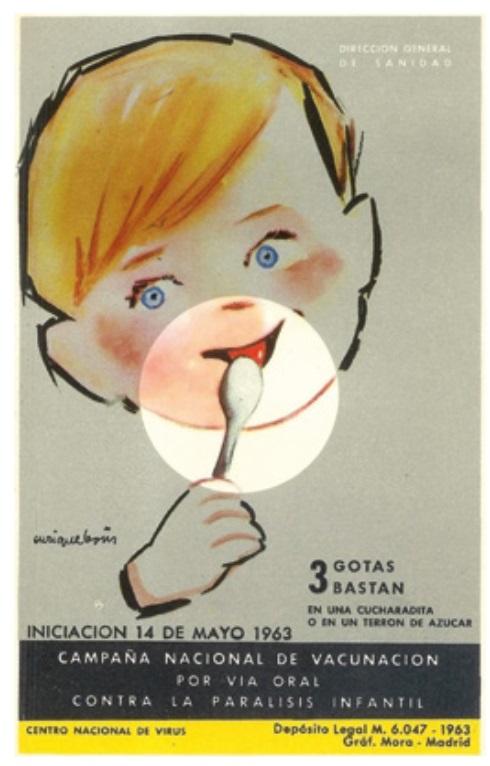 Cartel da campaña contra a polio en 1963. Fonte: Nájera (2019).