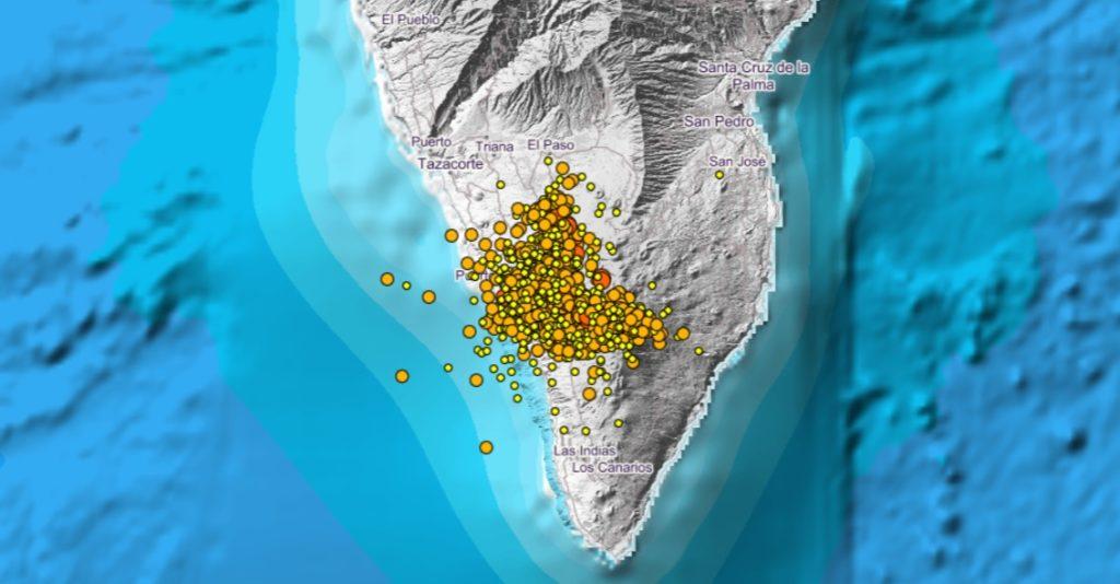 Movementos sísmicos rexistrados desde o 10 de setembro pola sede do IGN na zona onde se está a producir a erupción. Imaxe: Instituto Geográfico Nacional.