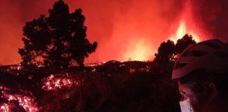 Medicións de temperatura das correntes de lava da erupción de La Palma. Imaxe: Instituto Vulcanológico de Canarias.