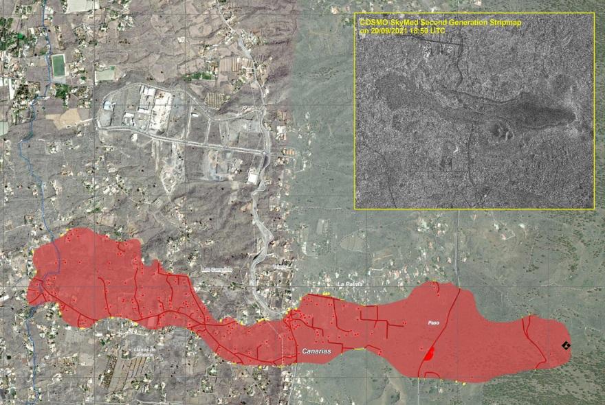 Perfil da lingua de lava (en vermello) xunto ás edificacións destruídas e danadas (vermello e amarillo) e as estradas destruídas ou danadas (nas mesmas cores). Fonte: EMS Copernicus.