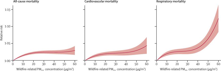 Risco relativo de mortalidade por todas as causas (esquerda), doenzas cardiovasculares (centro) e respiratorias (dereita) en función da concentración de PM 2,5 vinculadas a incendios. Fonte: Li et al. (2021).