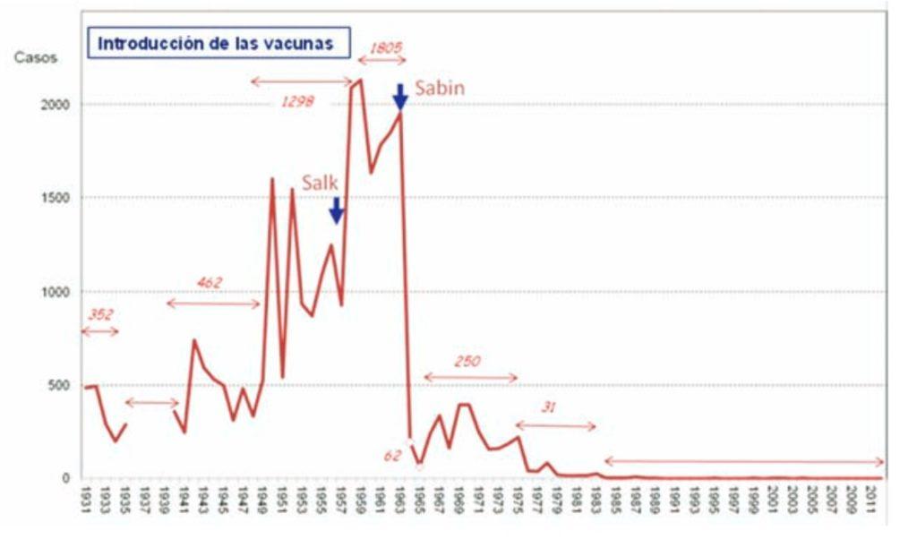 Casos anuais de polio en España e media anual nos diversos períodos sinalados. Fonte: Nájera (2019).