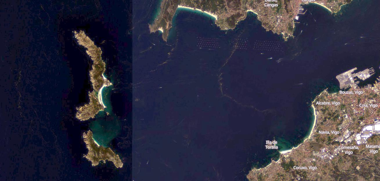 Vista da ría de Vigo o pasado 4 de setembro. Fonte: Sentinel-2.