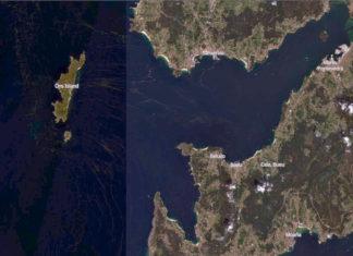 Afloramentos de microalgas na ría de Pontevedra, o pasado 4 de setembro. Fonte: Sentinel-2.